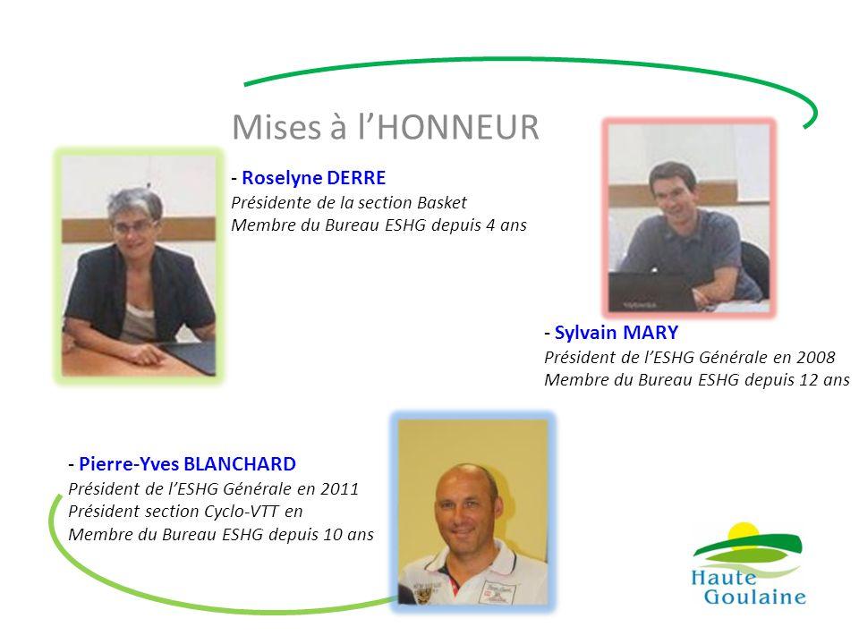 Mises à l'HONNEUR - Roselyne DERRE Présidente de la section Basket Membre du Bureau ESHG depuis 4 ans - Sylvain MARY Président de l'ESHG Générale en 2