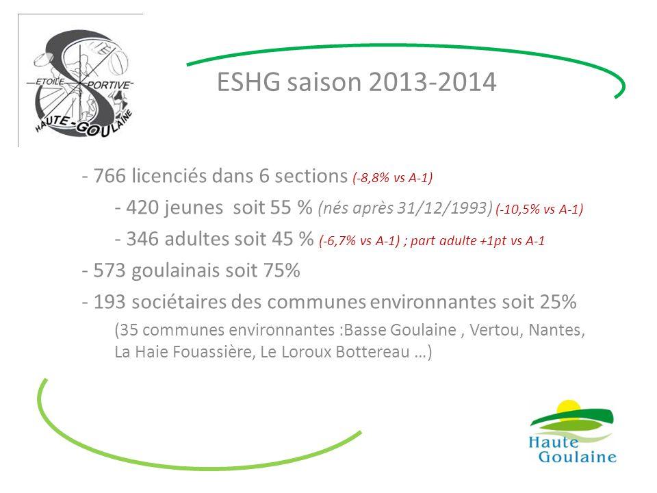 ESHG saison 2013-2014 - 766 licenciés dans 6 sections (-8,8% vs A-1) - 420 jeunes soit 55 % (nés après 31/12/1993) (-10,5% vs A-1) - 346 adultes soit