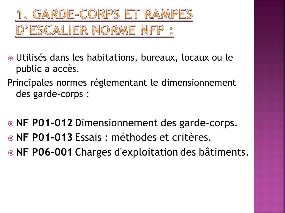  Utilisés dans les habitations, bureaux, locaux ou le public a accès. Principales normes réglementant le dimensionnement des garde-corps :  NF P01-0