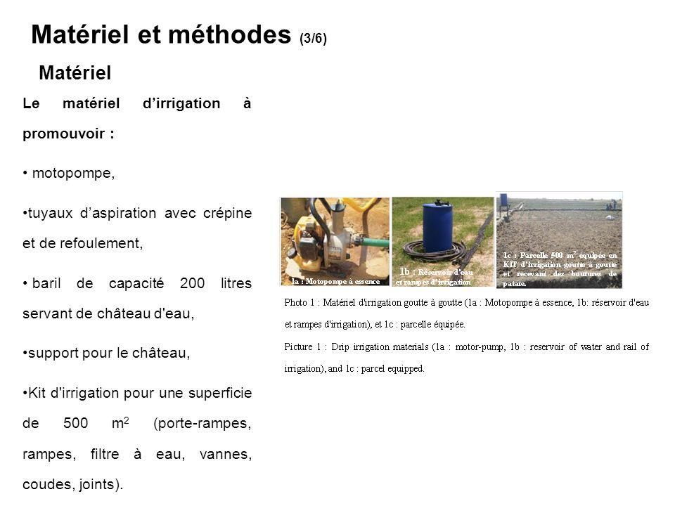 Le matériel d'irrigation paysan très variable : Calebasse /sceau, motopompe avec tuyaux d'aspiration muni de crépine et de refoulement, La parcelle de production : charrue pour le labour (parcelles tests) charrue pour le labour et le billonnage (parcelles paysannes), houe/daba pour le sarclo-binage (parcelles tests et paysannes), amendement minéral : 10N-10P-10K à la dose de 1500 kg/ha, et en trois applications de quantité égale : 500 kg/application en fond avant plantation, 1 mois après plantation et puis 2 mois après plantation, protection phytosanitaire : le DECIS 25 EC (25 g/l deltaméthrine 25 EC) a été utilisé au besoin à raison de 100 ml/ha foliaire.