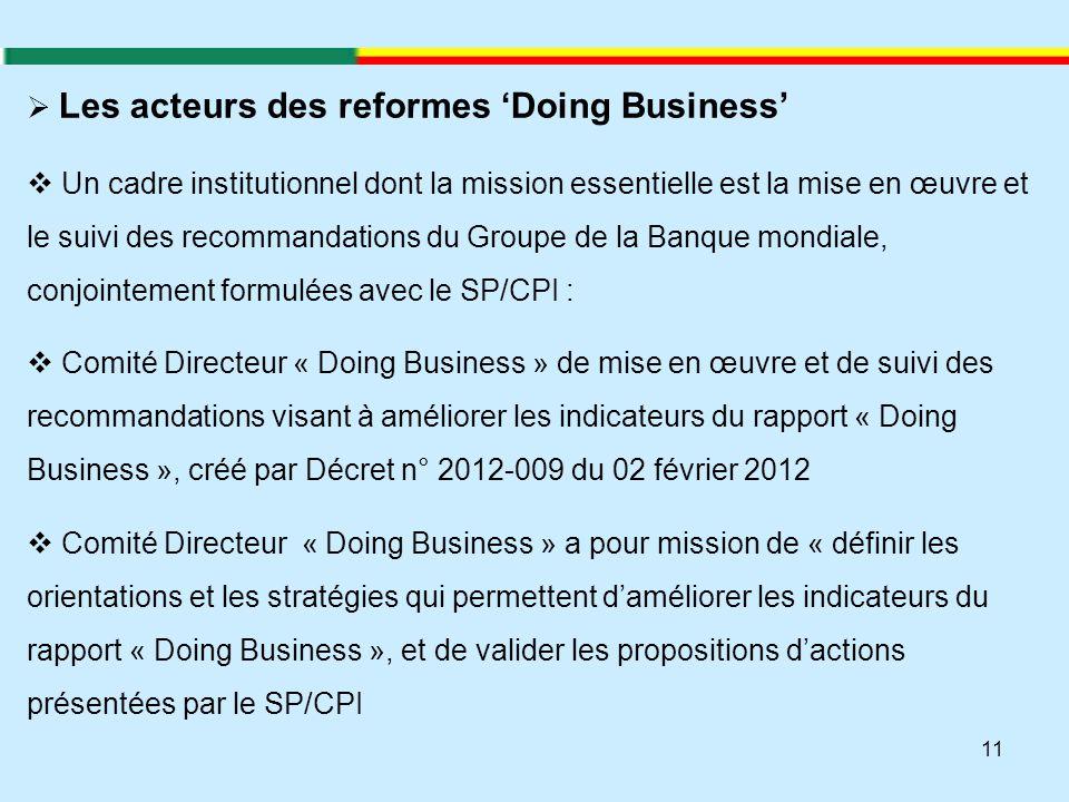 11  Les acteurs des reformes 'Doing Business'  Un cadre institutionnel dont la mission essentielle est la mise en œuvre et le suivi des recommandati