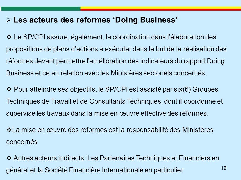 12  Les acteurs des reformes 'Doing Business'  Le SP/CPI assure, également, la coordination dans l'élaboration des propositions de plans d'actions à