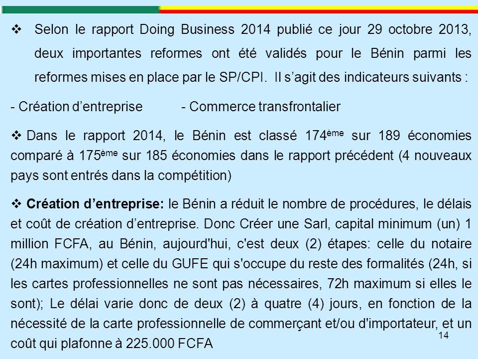 14  Selon le rapport Doing Business 2014 publié ce jour 29 octobre 2013, deux importantes reformes ont été validés pour le Bénin parmi les reformes m