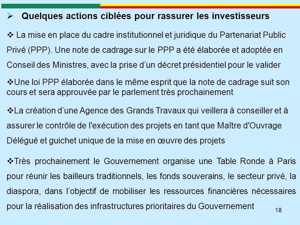 18  Quelques actions ciblées pour rassurer les investisseurs  La mise en place du cadre institutionnel et juridique du Partenariat Public Privé (PPP