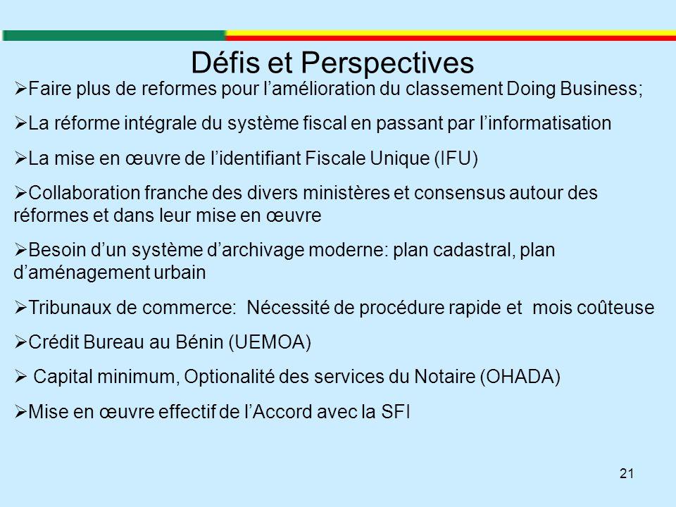 21 Défis et Perspectives  Faire plus de reformes pour l'amélioration du classement Doing Business;  La réforme intégrale du système fiscal en passan