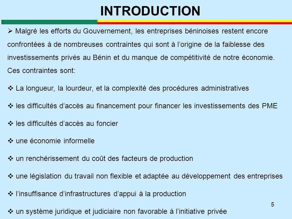 16  Aujourd'hui le climat des affaires n'est pas attractif au Bénin  Le Bénin est classé 174 ème sur 189 économies  Le Bénin est classé 130 ème sur 148 selon le dernier rapport sur l'Indice de Compétitive (ICG) dur Forum Economique Mondial  D'où la nécessité de mener des reformes pour rendre notre pays attractif et notre économie compétitive  L'amélioration du climat de l'investissement est un processus, et non pas une action ponctuelle  Le Gouvernement du Bénin continue de faire des réformes pour l'amélioration du climat des affaires au Bénin en partenariat avec la Société Financière Internationale