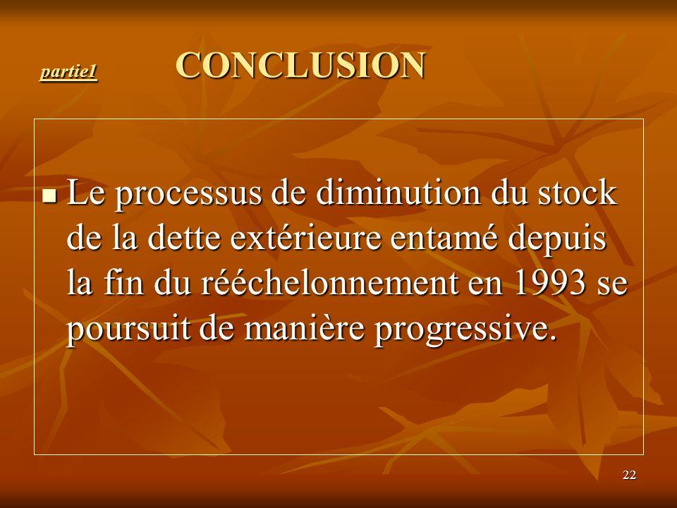 22 partie1 CONCLUSION Le processus de diminution du stock de la dette extérieure entamé depuis la fin du rééchelonnement en 1993 se poursuit de manièr
