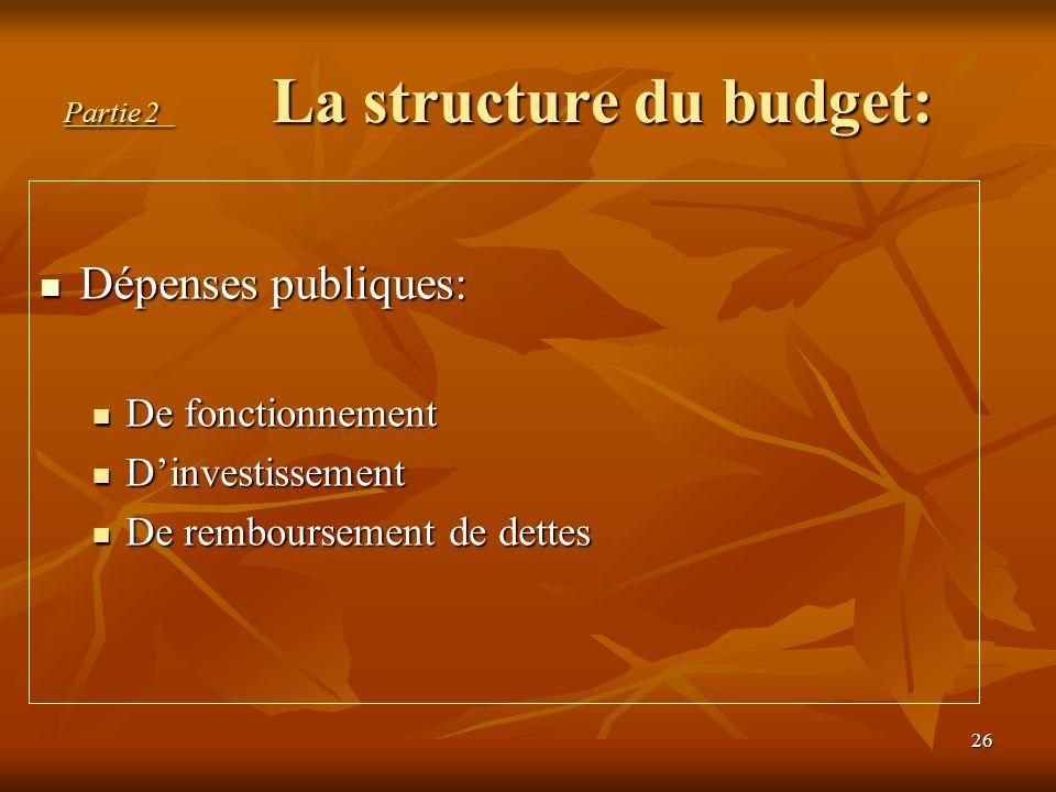 26 Partie 2 La structure du budget: Dépenses publiques: Dépenses publiques: De fonctionnement De fonctionnement D'investissement D'investissement De r