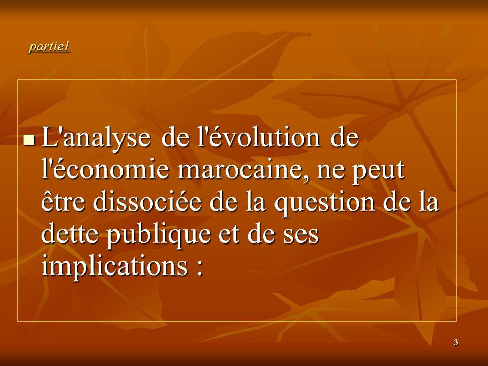 3 partie1 L'analyse de l'évolution de l'économie marocaine, ne peut être dissociée de la question de la dette publique et de ses implications : L'anal