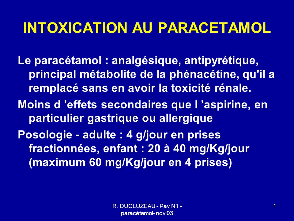 R. DUCLUZEAU - Pav N1 - paracétamol- nov 03 1 INTOXICATION AU PARACETAMOL Le paracétamol : analgésique, antipyrétique, principal métabolite de la phén