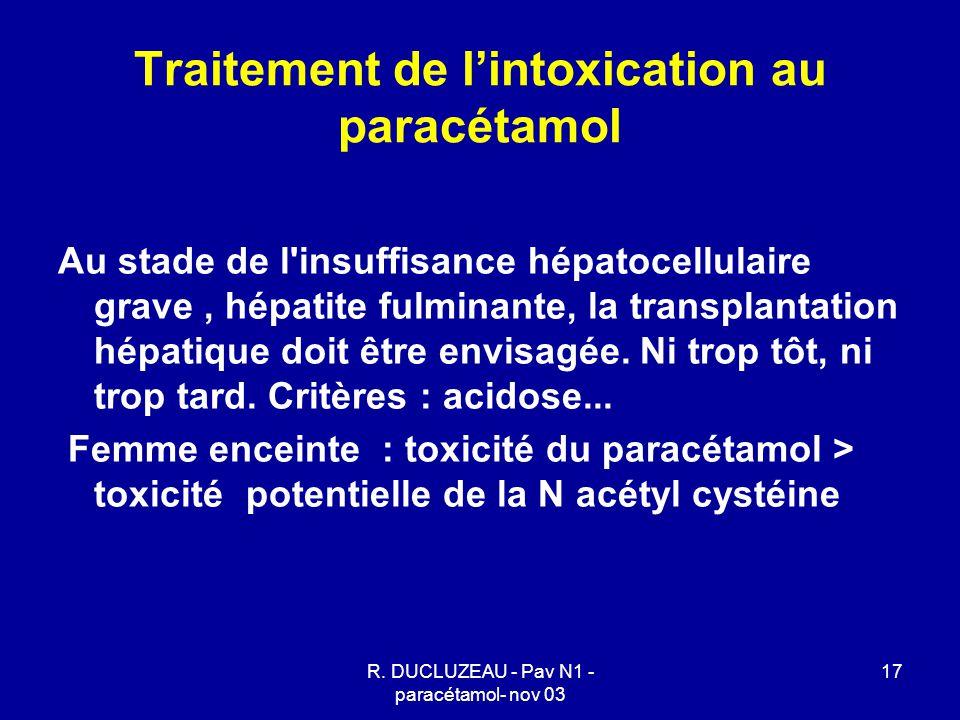 R. DUCLUZEAU - Pav N1 - paracétamol- nov 03 17 Traitement de l'intoxication au paracétamol Au stade de l'insuffisance hépatocellulaire grave, hépatite