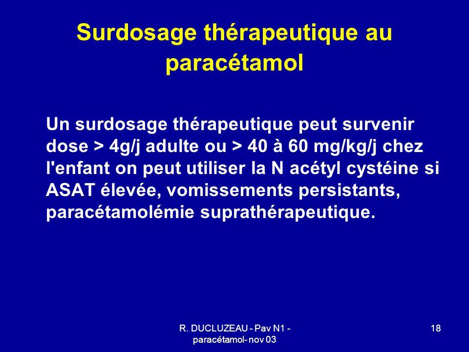 R. DUCLUZEAU - Pav N1 - paracétamol- nov 03 18 Surdosage thérapeutique au paracétamol Un surdosage thérapeutique peut survenir dose > 4g/j adulte ou >