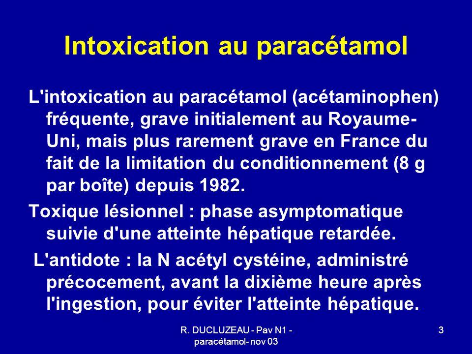 14 Utilisation de la N acétyl cystéine - per os : 140 mg/kg, puis 70 mg/kg /4h pendant 72 heures - IV dose de charge : 150mg/kg en 15 minutes, plutôt en 1h afin d éviter les accidents anaphylactoïdes, puis 50 mg/kg dans 500ml G5% en 4h, puis 100 mg/kg en 16h, durée 20 h.