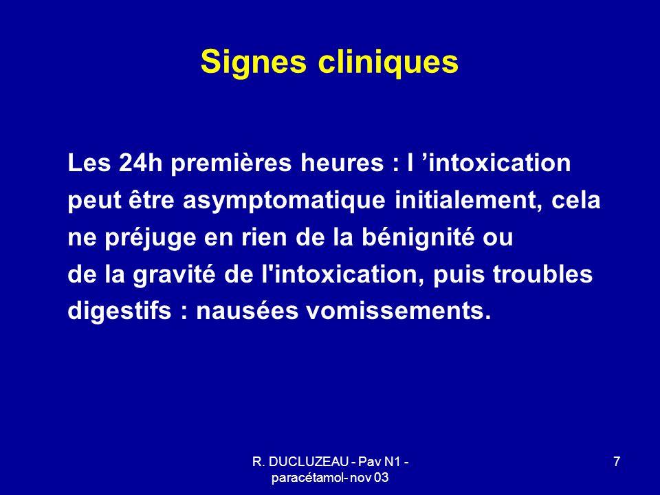 R. DUCLUZEAU - Pav N1 - paracétamol- nov 03 7 Signes cliniques Les 24h premières heures : l 'intoxication peut être asymptomatique initialement, cela
