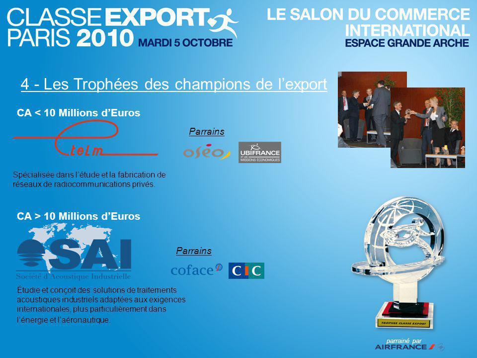 4 - Les Trophées des champions de l'export Spécialisée dans l'étude et la fabrication de réseaux de radiocommunications privés.