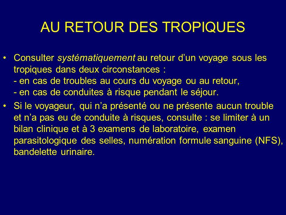 Consulter systématiquement au retour d'un voyage sous les tropiques dans deux circonstances : - en cas de troubles au cours du voyage ou au retour, -