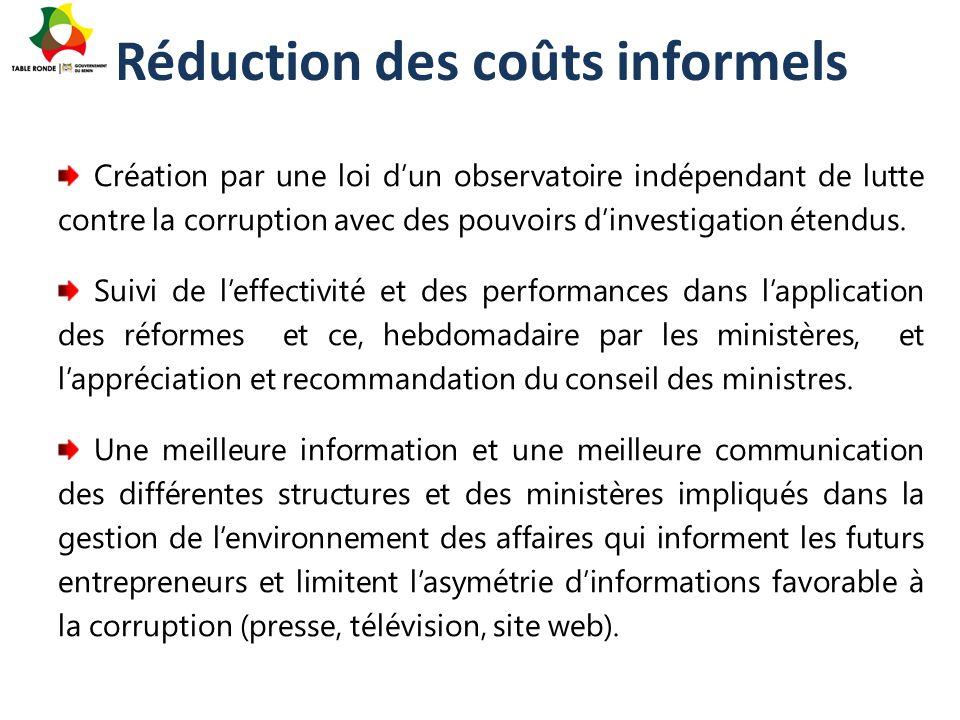 Réduction des coûts informels Création par une loi d'un observatoire indépendant de lutte contre la corruption avec des pouvoirs d'investigation étend