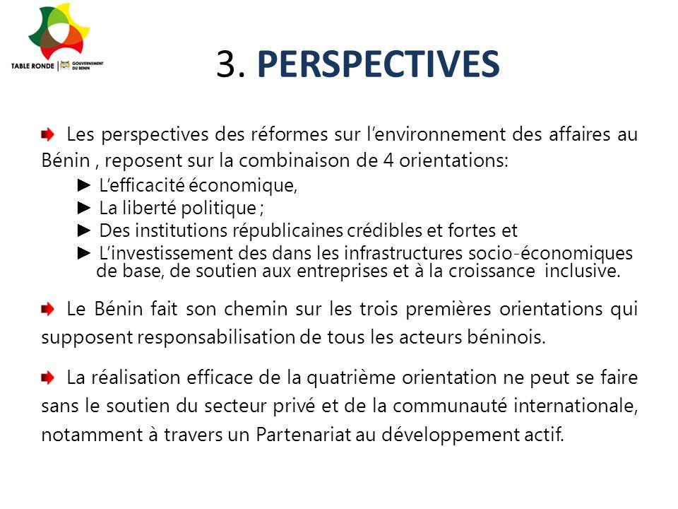 3. PERSPECTIVES Les perspectives des réformes sur l'environnement des affaires au Bénin, reposent sur la combinaison de 4 orientations: ► L'efficacité