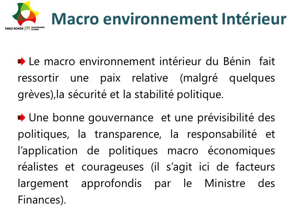 Macro environnement Intérieur Le macro environnement intérieur du Bénin fait ressortir une paix relative (malgré quelques grèves),la sécurité et la st