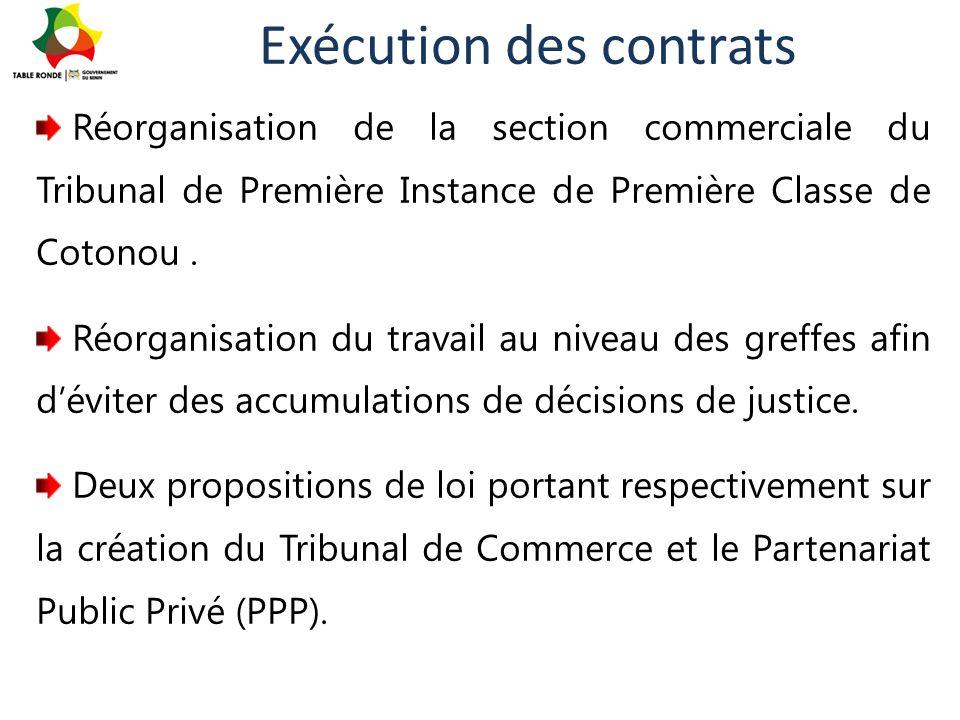 Exécution des contrats Réorganisation de la section commerciale du Tribunal de Première Instance de Première Classe de Cotonou. Réorganisation du trav