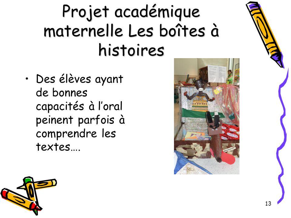 13 Projet académique maternelle Les boîtes à histoires Des élèves ayant de bonnes capacités à l'oral peinent parfois à comprendre les textes….