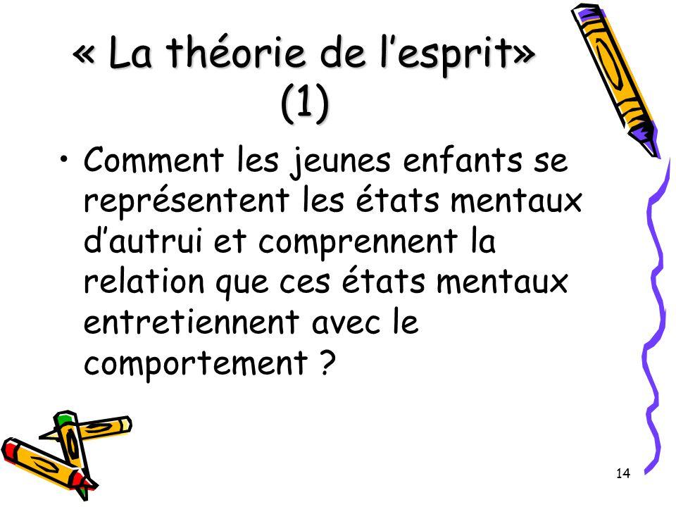 14 « La théorie de l'esprit» (1) Comment les jeunes enfants se représentent les états mentaux d'autrui et comprennent la relation que ces états mentaux entretiennent avec le comportement ?