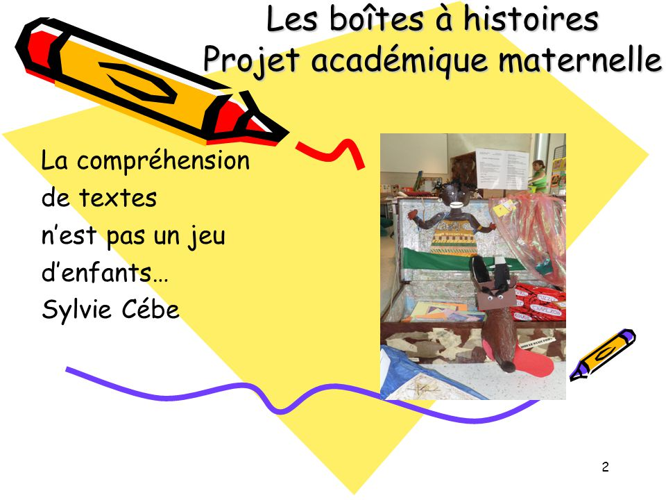 2 Les boîtes à histoires Projet académique maternelle La compréhension de textes n'est pas un jeu d'enfants… Sylvie Cébe