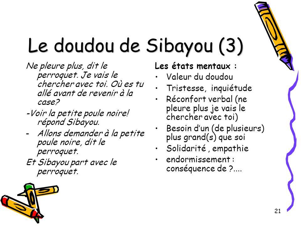 21 Le doudou de Sibayou (3) Ne pleure plus, dit le perroquet. Je vais le chercher avec toi. Où es tu allé avant de revenir à la case? -Voir la petite