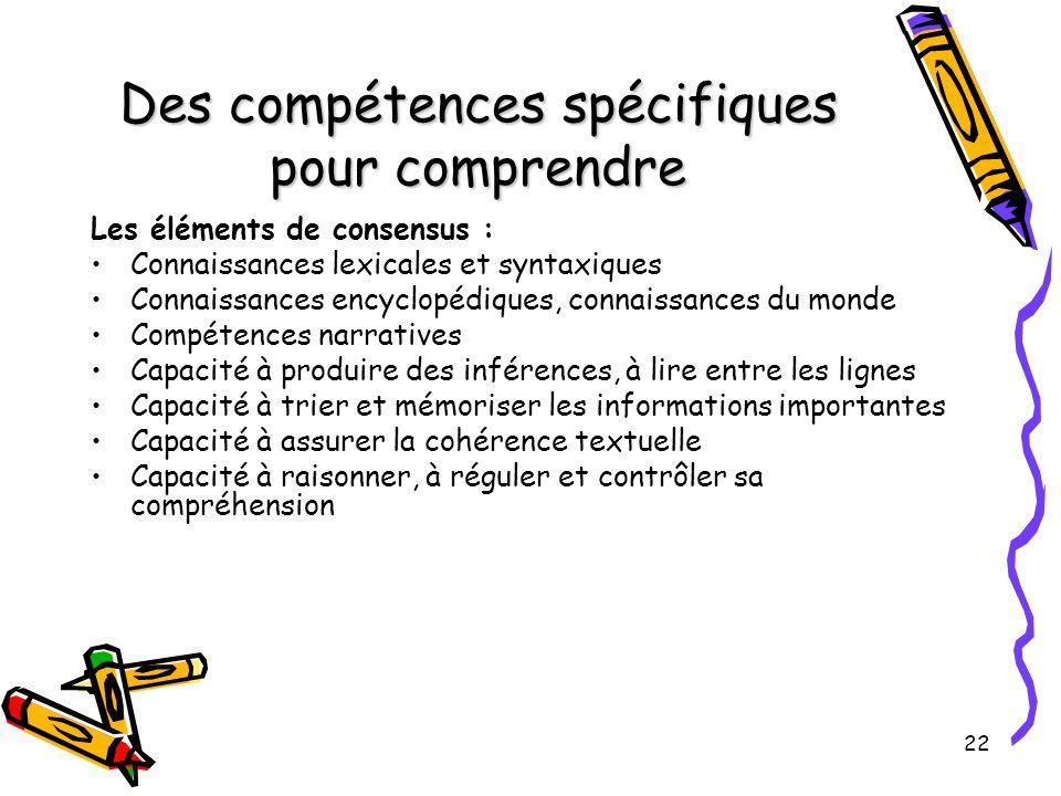 22 Des compétences spécifiques pour comprendre Les éléments de consensus : Connaissances lexicales et syntaxiques Connaissances encyclopédiques, conna
