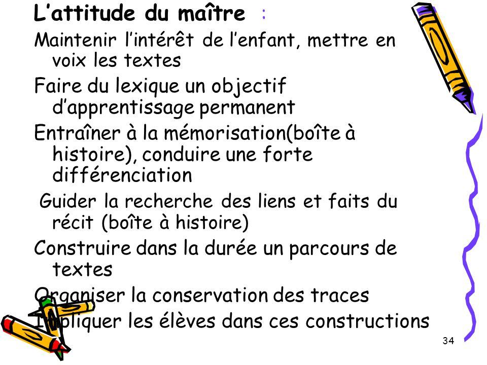 34 L'attitude du maître : Maintenir l'intérêt de l'enfant, mettre en voix les textes Faire du lexique un objectif d'apprentissage permanent Entraîner
