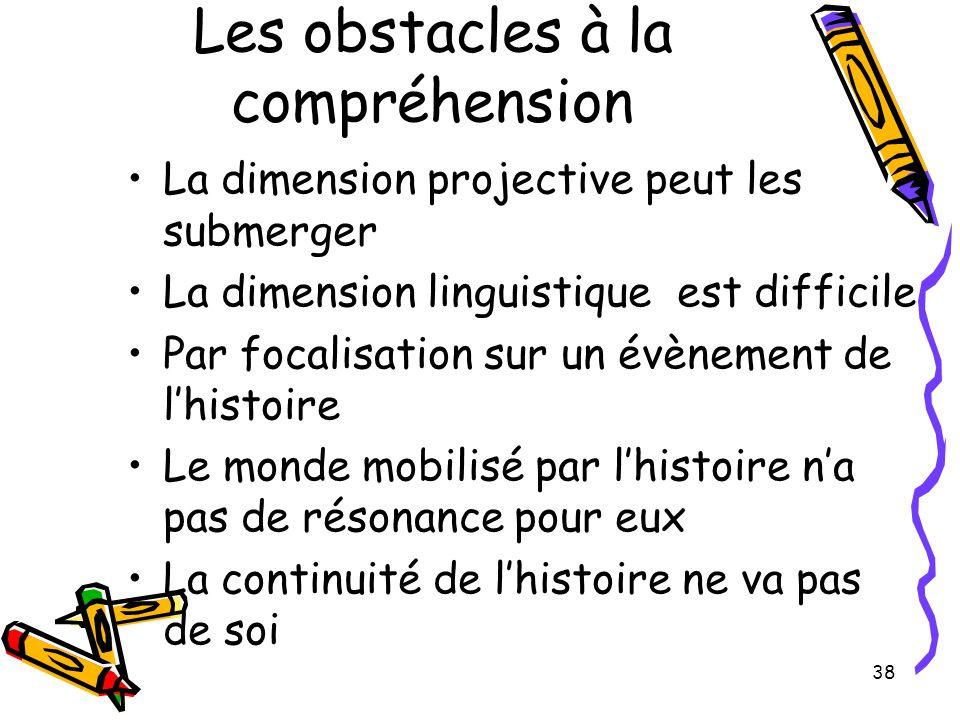 38 Les obstacles à la compréhension La dimension projective peut les submerger La dimension linguistique est difficile Par focalisation sur un évènement de l'histoire Le monde mobilisé par l'histoire n'a pas de résonance pour eux La continuité de l'histoire ne va pas de soi