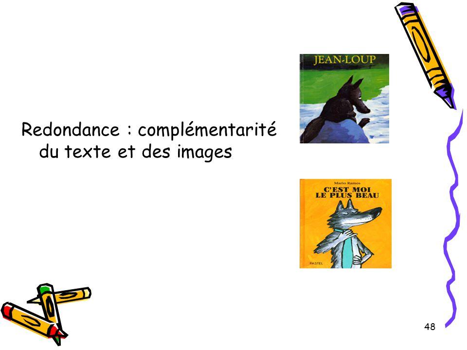 48 Redondance : complémentarité du texte et des images