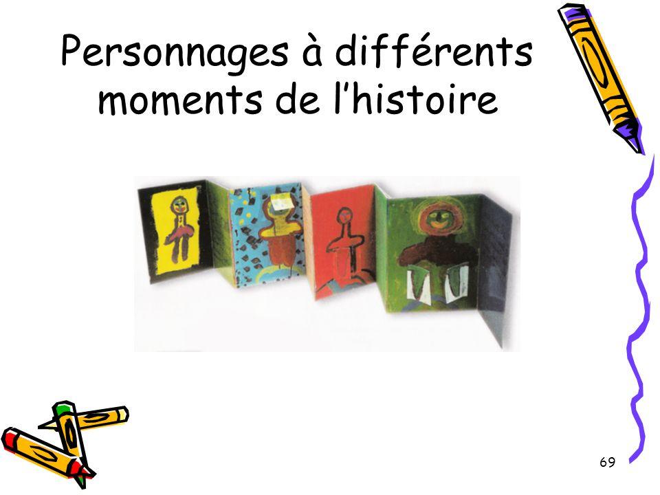 69 Personnages à différents moments de l'histoire