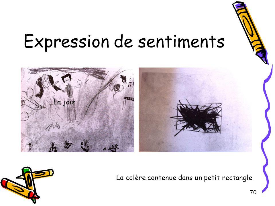 70 Expression de sentiments La joie La colère contenue dans un petit rectangle