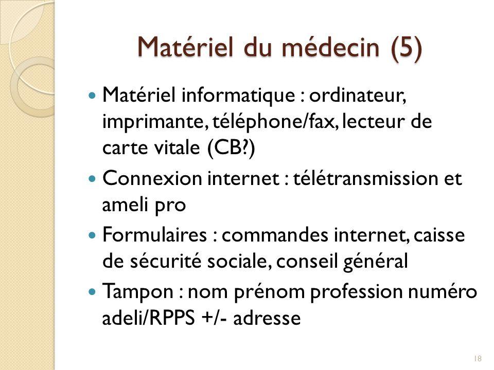 Matériel du médecin (5) Matériel informatique : ordinateur, imprimante, téléphone/fax, lecteur de carte vitale (CB?) Connexion internet : télétransmis