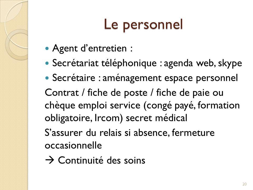 Le personnel Agent d'entretien : Secrétariat téléphonique : agenda web, skype Secrétaire : aménagement espace personnel Contrat / fiche de poste / fic