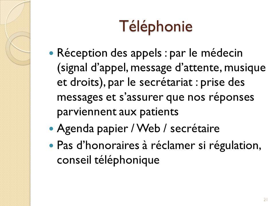 Téléphonie Réception des appels : par le médecin (signal d'appel, message d'attente, musique et droits), par le secrétariat : prise des messages et s'
