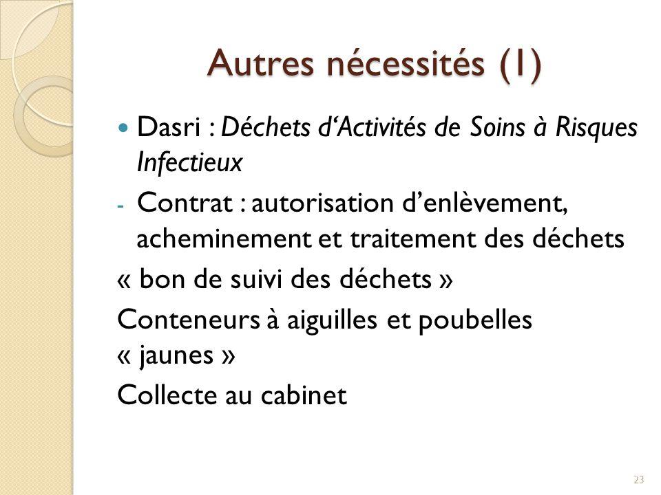Autres nécessités (1) Dasri : Déchets d'Activités de Soins à Risques Infectieux - Contrat : autorisation d'enlèvement, acheminement et traitement des