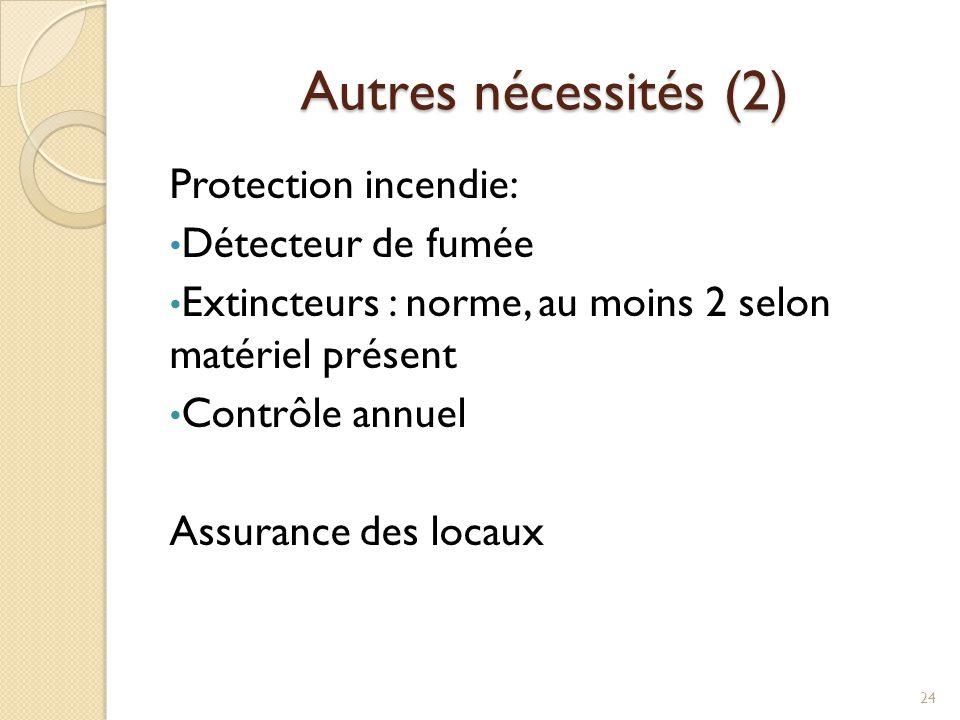 Autres nécessités (2) Protection incendie: Détecteur de fumée Extincteurs : norme, au moins 2 selon matériel présent Contrôle annuel Assurance des loc