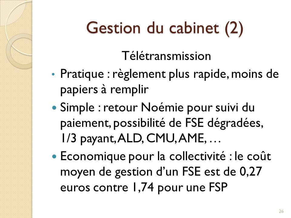 Gestion du cabinet (2) Télétransmission Pratique : règlement plus rapide, moins de papiers à remplir Simple : retour Noémie pour suivi du paiement, po