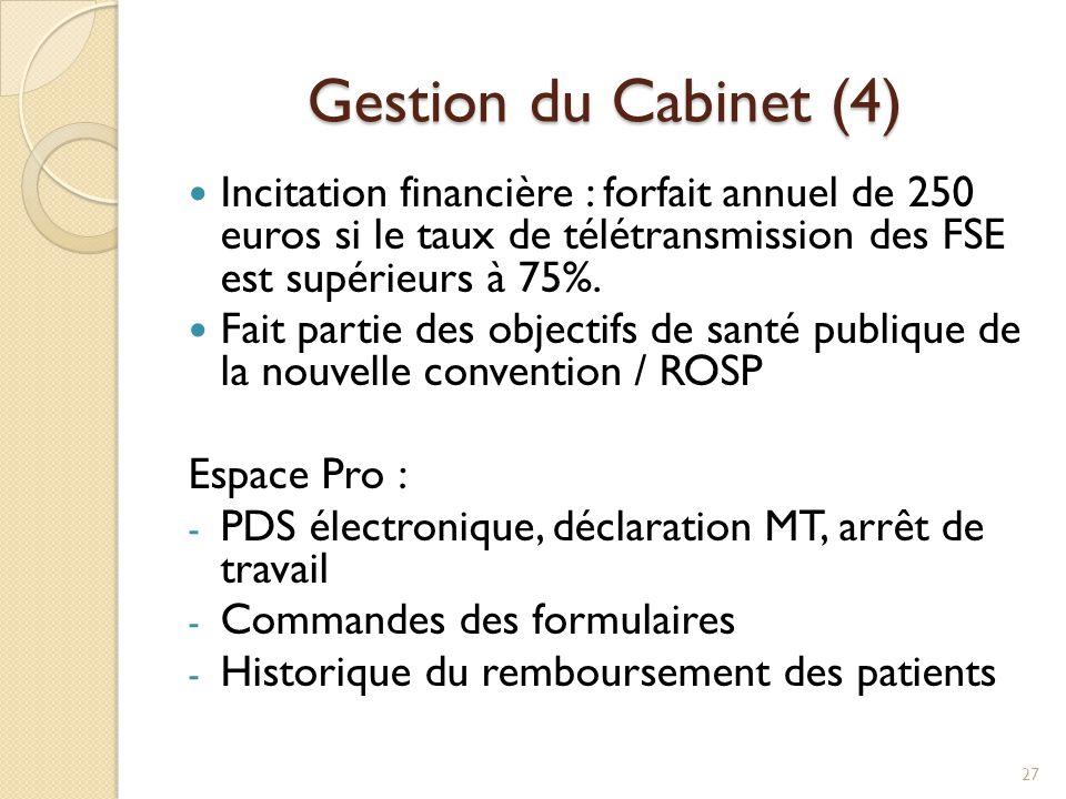 Gestion du Cabinet (4) Incitation financière : forfait annuel de 250 euros si le taux de télétransmission des FSE est supérieurs à 75%. Fait partie de