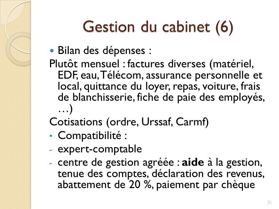 Gestion du cabinet (6) Bilan des dépenses : Plutôt mensuel : factures diverses (matériel, EDF, eau, Télécom, assurance personnelle et local, quittance