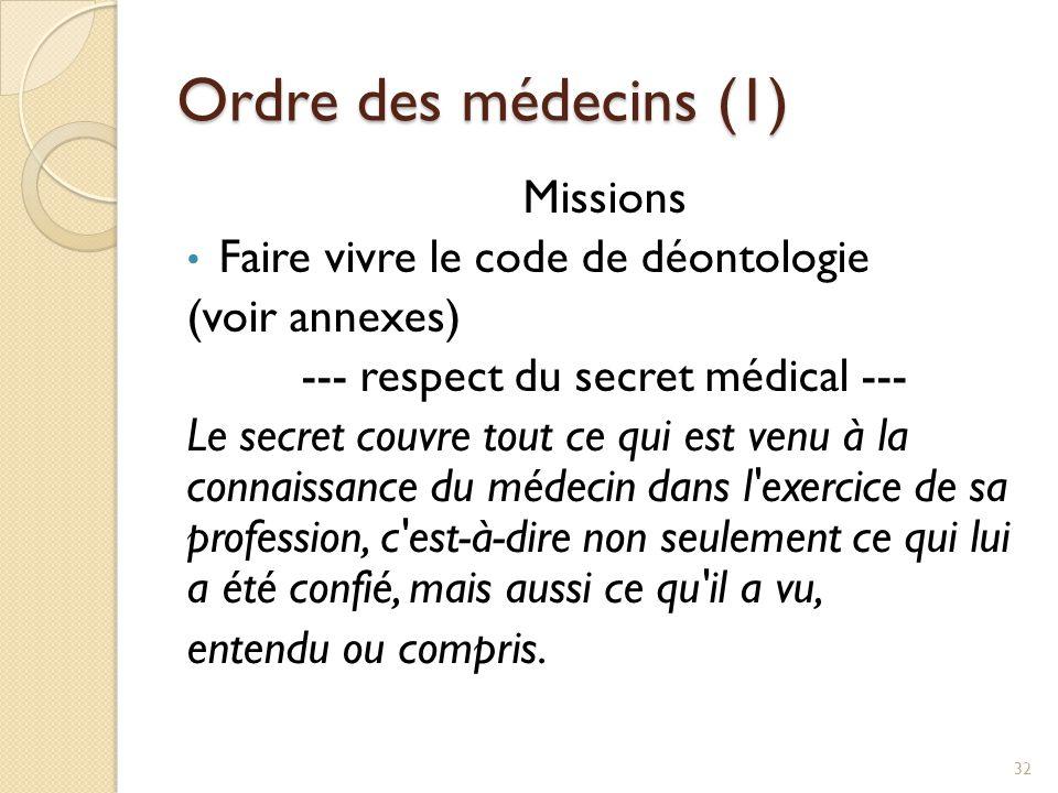 Ordre des médecins (1) Missions Faire vivre le code de déontologie (voir annexes) --- respect du secret médical --- Le secret couvre tout ce qui est v