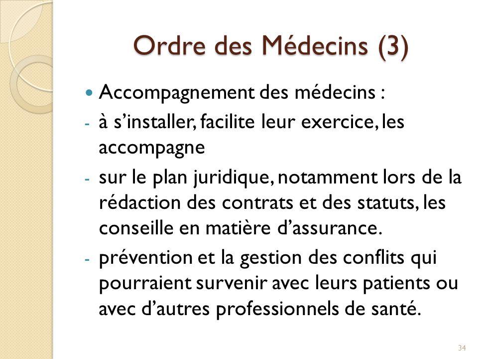 Ordre des Médecins (3) Accompagnement des médecins : - à s'installer, facilite leur exercice, les accompagne - sur le plan juridique, notamment lors d