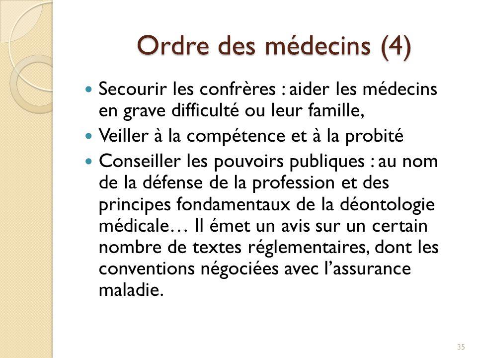 Ordre des médecins (4) Ordre des médecins (4) Secourir les confrères : aider les médecins en grave difficulté ou leur famille, Veiller à la compétence