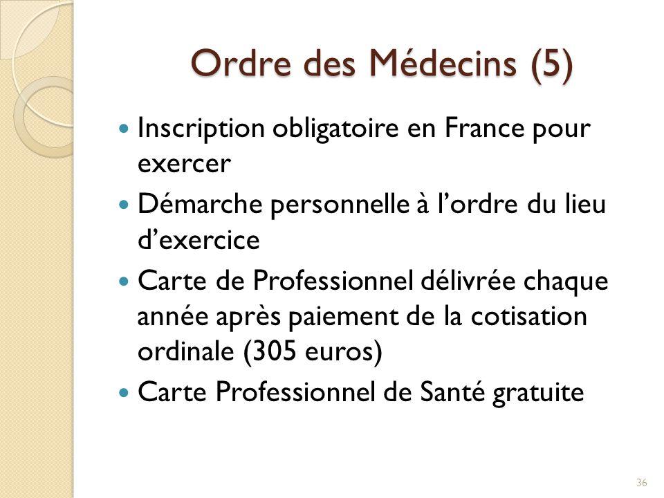 Ordre des Médecins (5) Ordre des Médecins (5) Inscription obligatoire en France pour exercer Démarche personnelle à l'ordre du lieu d'exercice Carte d