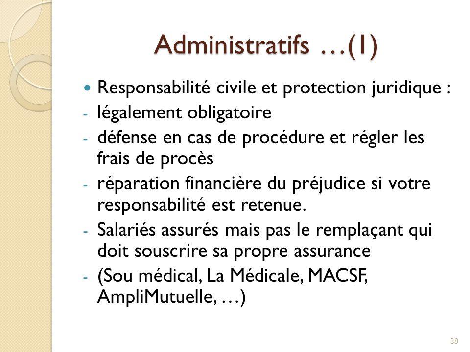 Administratifs …(1) Responsabilité civile et protection juridique : - légalement obligatoire - défense en cas de procédure et régler les frais de proc