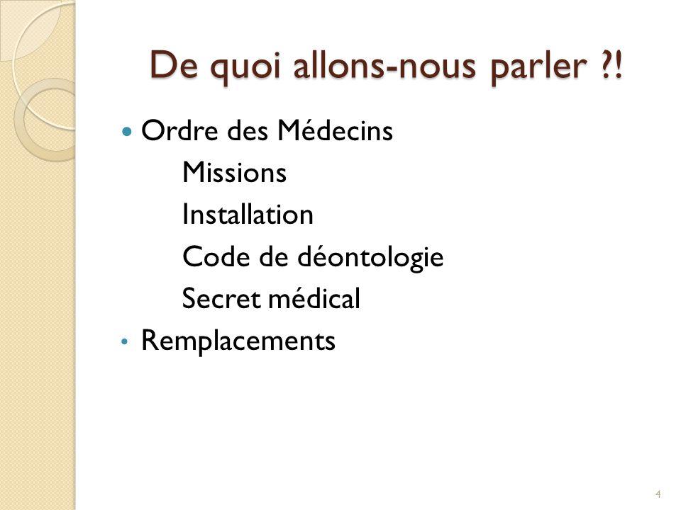 De quoi allons-nous parler ?! Ordre des Médecins Missions Installation Code de déontologie Secret médical Remplacements 4