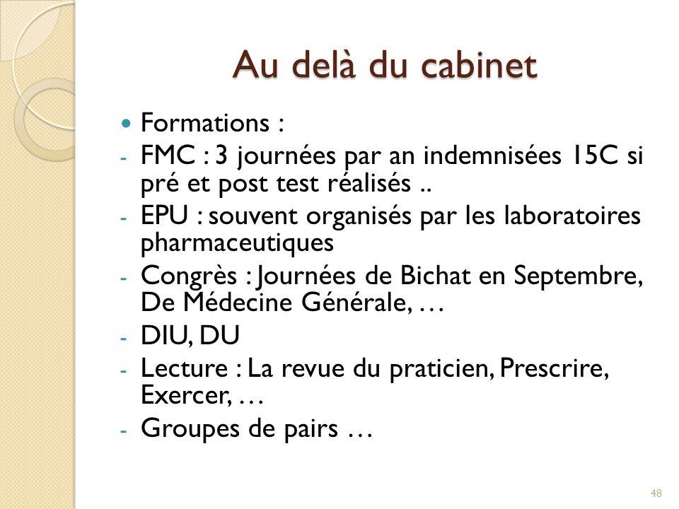 Au delà du cabinet Formations : - FMC : 3 journées par an indemnisées 15C si pré et post test réalisés.. - EPU : souvent organisés par les laboratoire