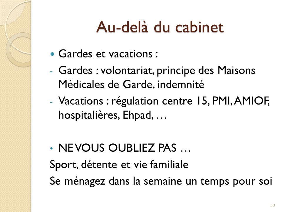 Au-delà du cabinet Gardes et vacations : - Gardes : volontariat, principe des Maisons Médicales de Garde, indemnité - Vacations : régulation centre 15